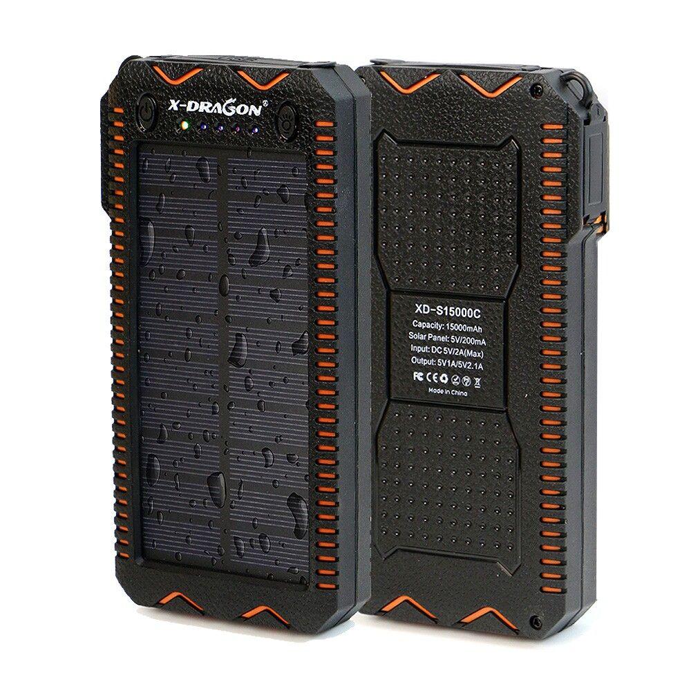 15000mAh Power Bank Solar External Battery Electric Cigarette Lighter Power Bank for iPhone 5 5s SE 6 6s 7 Samsung LG Phones etc