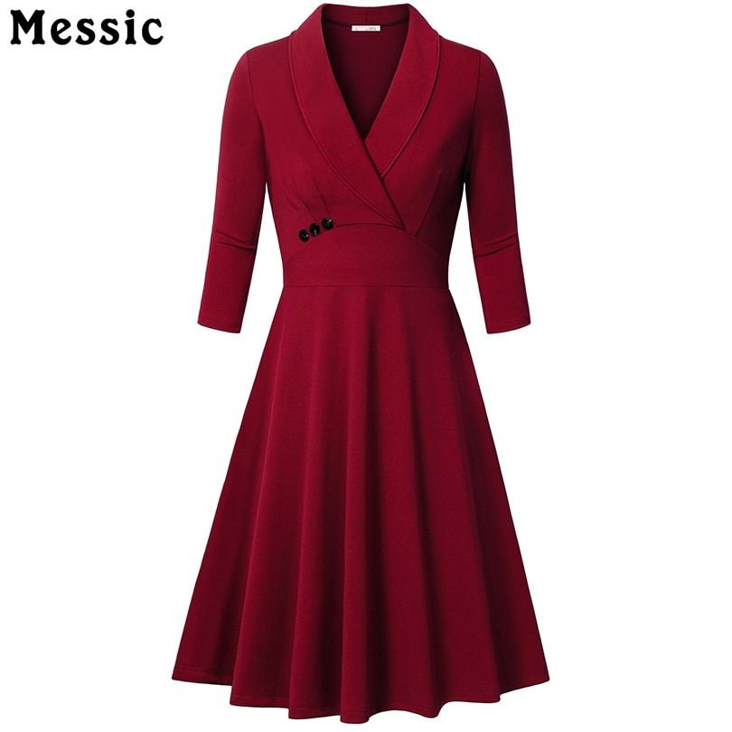 Messic Autumn A-line Knitted Dress Turn-Down Collar Women Elegant 3/4 sleeves Pleated Party Vintage Dresses Buttons Vestido