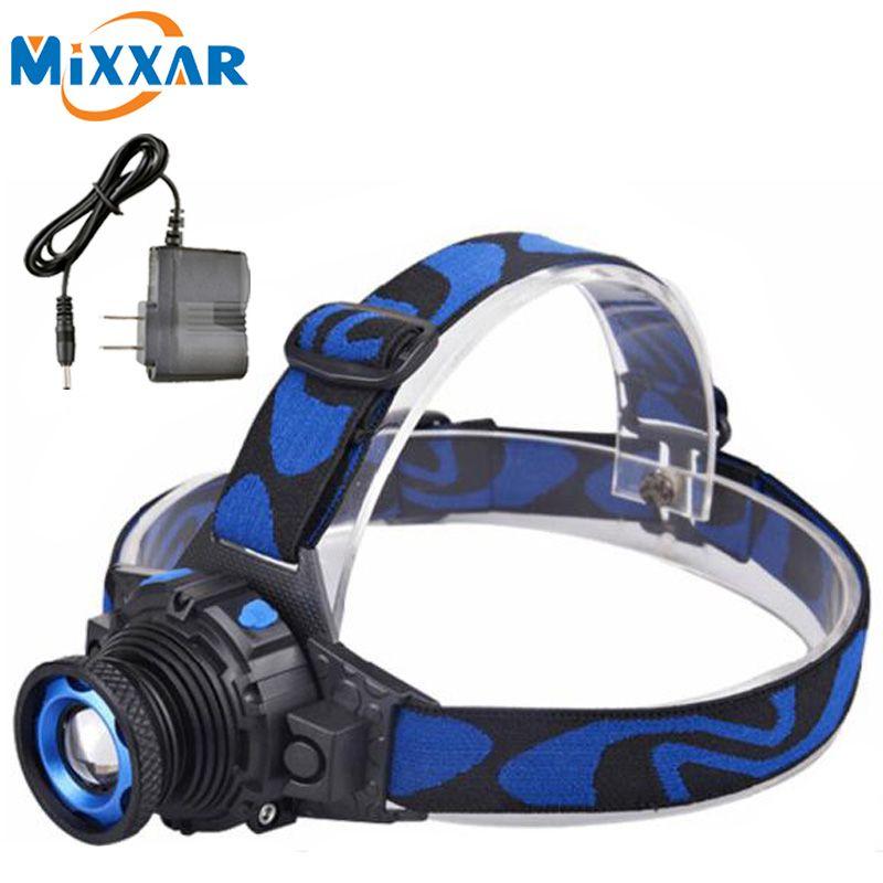 C Q5 LED Frontale Led Phare de Phare lampe de Poche Rechargeable Lampe Torche Tête lampe Construire-Dans La Batterie + Chargeur
