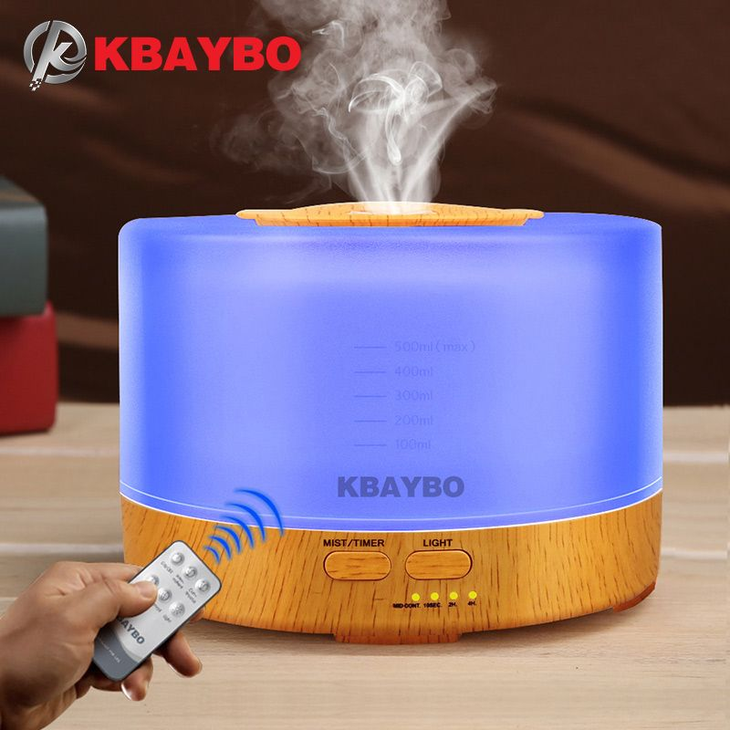 500ml Humidifier Remote Control Aroma Essential Oil Diffuser with 4 Timer Settings 7 Color <font><b>Changing</b></font> LED lamp