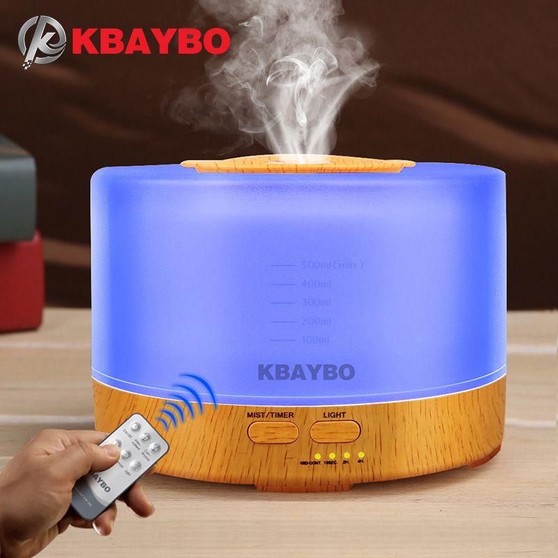 Diffuseur d'huile essentielle d'arome de télécommande d'humidificateur 500 ml avec 4 réglages de minuterie lampe de 7 LED à couleur changeante