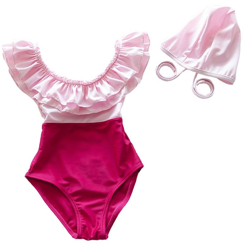 Baby Mädchen Bademode Kind Rosa One Piece Falbala Badeanzug mit Schwimmen kappe Bade Set Beach Wear für Mädchen 2 bis 10 Jahre alt