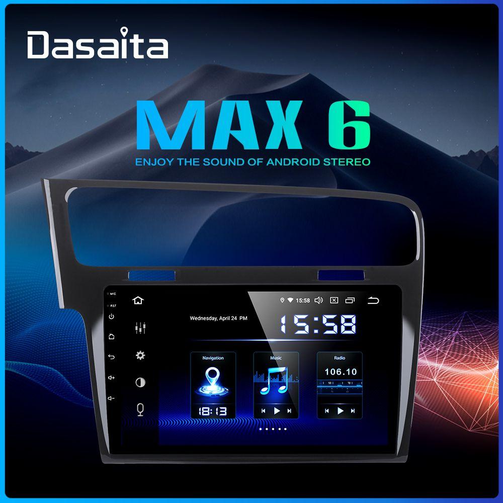 Dasaita Autoradio 1 Din Auto Android 9.0 für VW Golf 7 2013 2014 2015 2016 2017 Navigation GPS 10,2 IPS touchscreen HDMI