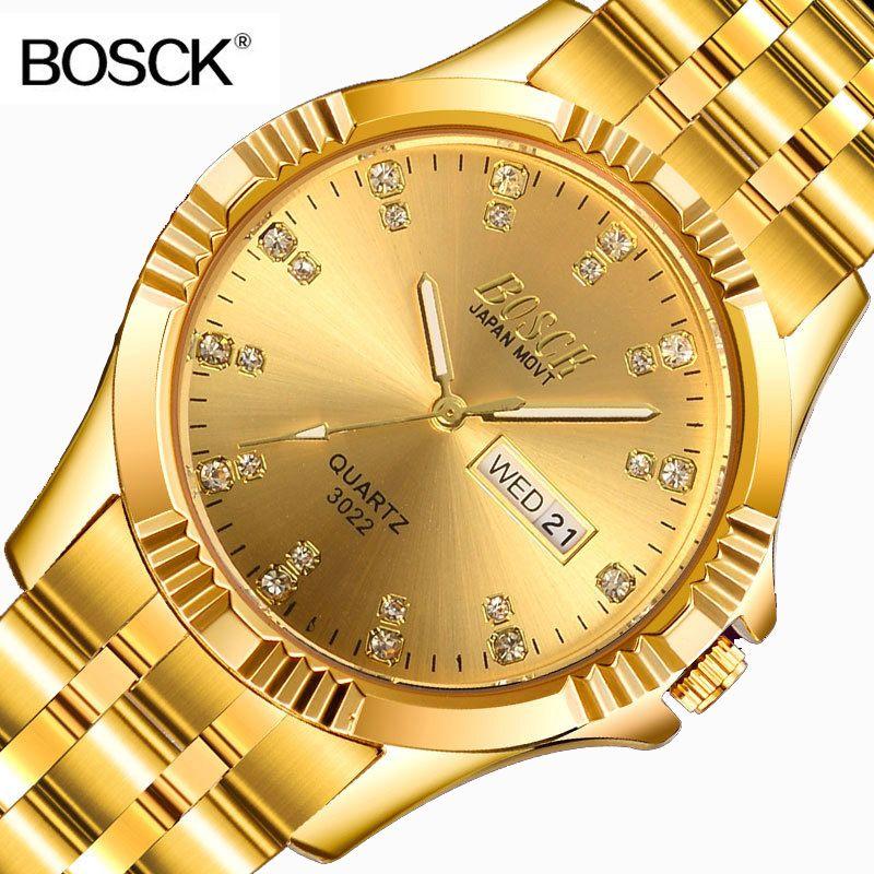 BOSCK célèbre marque Full Gold Role montre de luxe hommes or montres à Quartz calendrier montre-bracelet pour homme horloge montre homme
