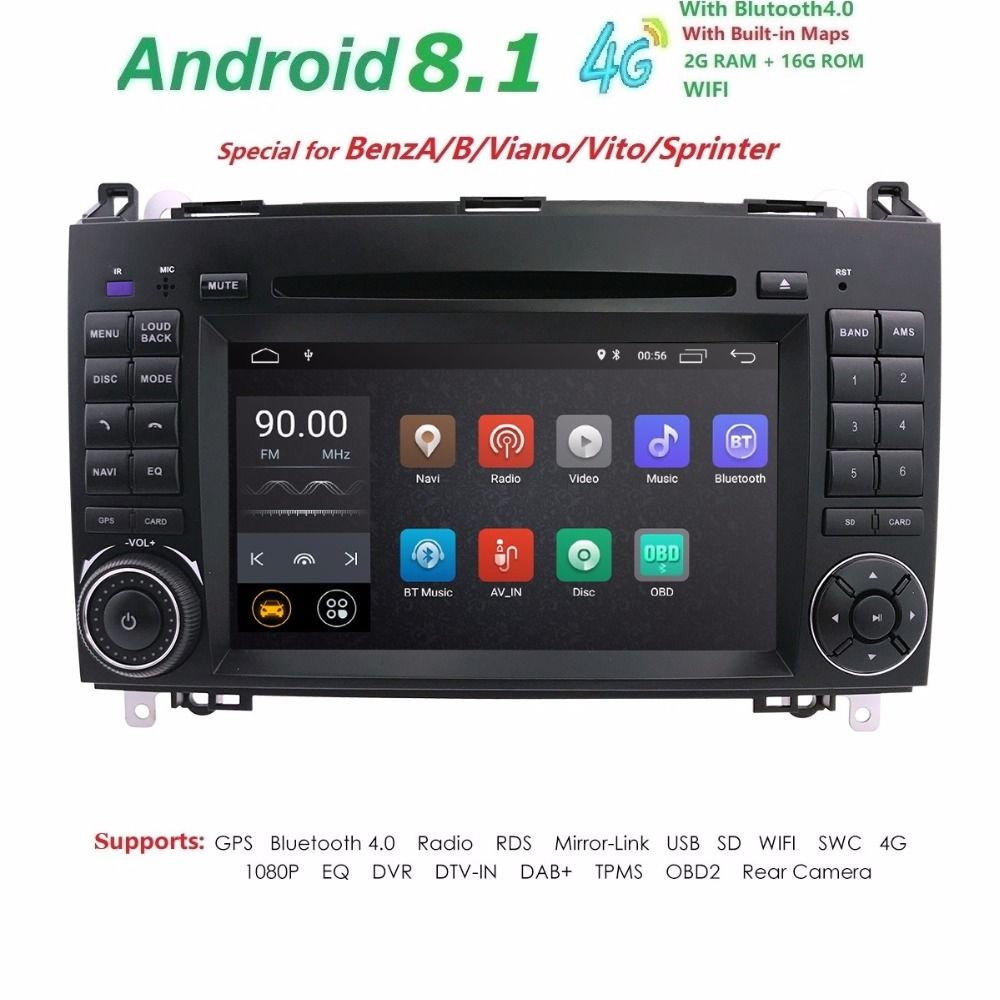HD 7 Inch Stereo 1024X600 Android 8.1 Quad Core Car DVD Player GPS For Mercedes Benz Sprinter W169 W245 W906 Viano Vito W639 DAB
