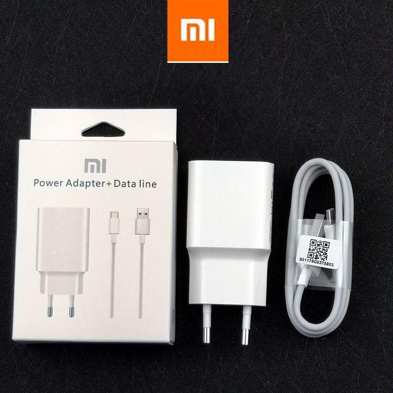 Original QC 3.0 EU power adapter xiaomi Fast Charger For mi 8 se lite a2 a1 mix 2 2s 3 max 6 6x 5 5s mi8 mi6 mi5s Usb C cable