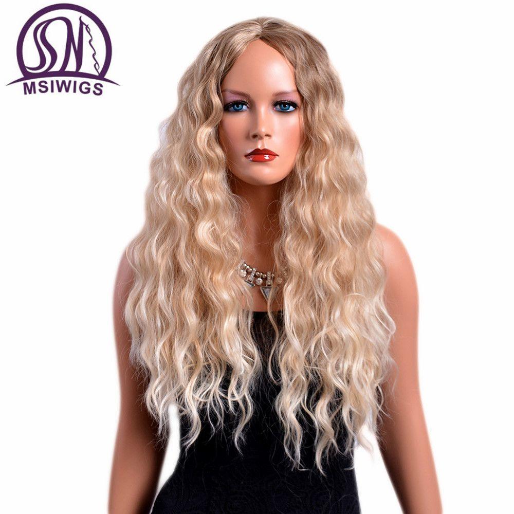 Perruques bouclés de 28 pouces de Long pour femmes couleur Blonde perruque américaine Afro cheveux synthétiques Ombre