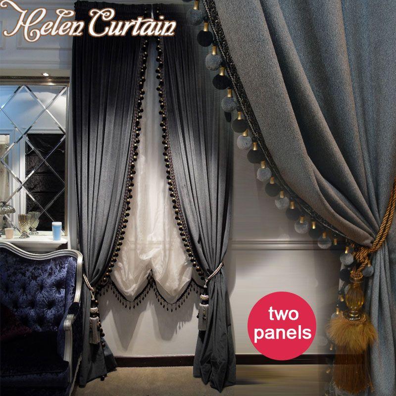 Хелен Шторы 2 панели роскошный Европейский Стиль плотные итальянского бархата Подзор Шторы для гостиной вышитые Белый Тюль 66