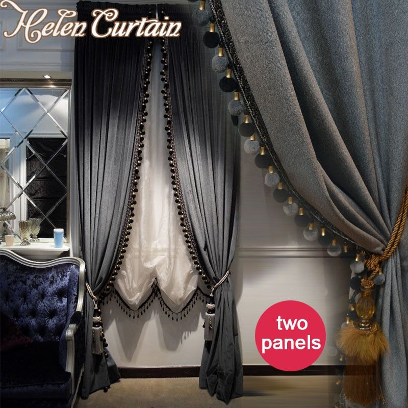 Helen Curtain Whole Luxury European Style Curtain Blackout Italian Velvet Valance Curtains For living Room 2 Panels Window 66