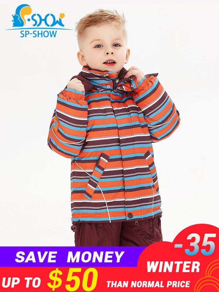 SP-SHOW Hiver Enfants Outwear de Col Roulé rayé et imprimé vestes Enfants vêtements garçons et filles veste de ski costume 009/011