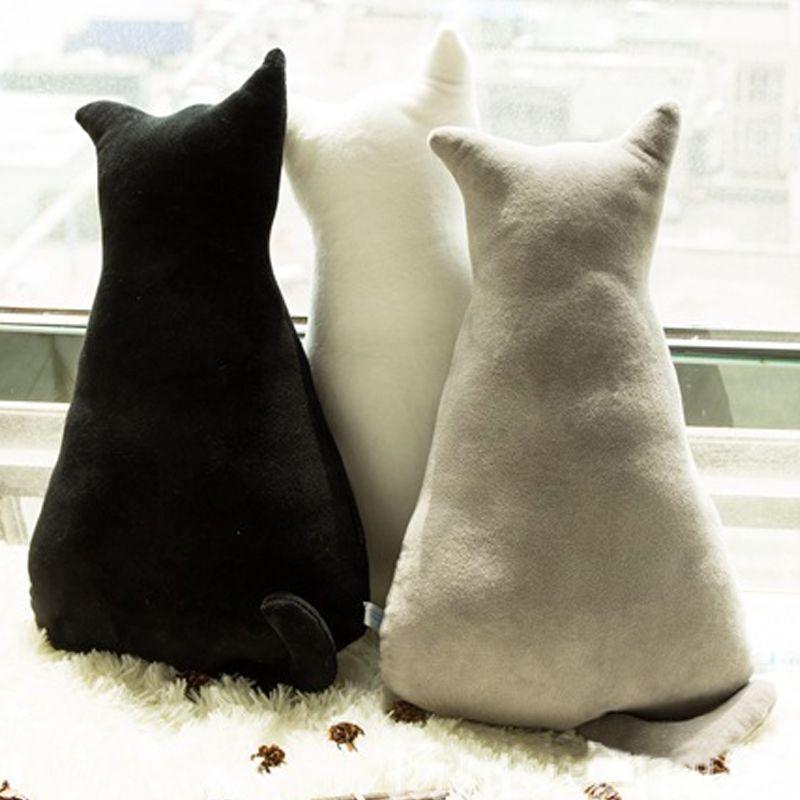1 pc 45 cm doux mode arrière ombre chat siège canapé oreiller coussin mignon en peluche Animal en peluche dessin animé oreiller grands jouets pour cadeau