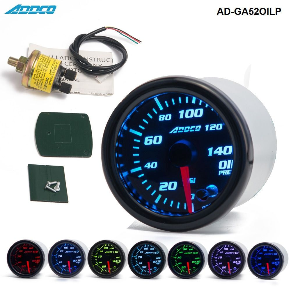 Car Auto 12V 52mm/2 7 Colors Universal Oil Press Gauge Oil Pressure Meter LED With Sensor and Holder AD-GA52OILP