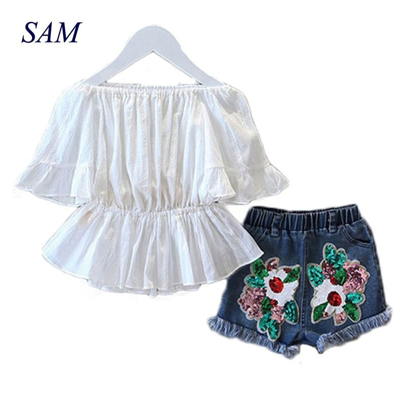 2017 New Girls Fashion Suit Summer Word Shoulder T-shirt and Sequin Denim Shorts <font><b>2pcs</b></font> / Set Waist Shirt Children's Clothing Set