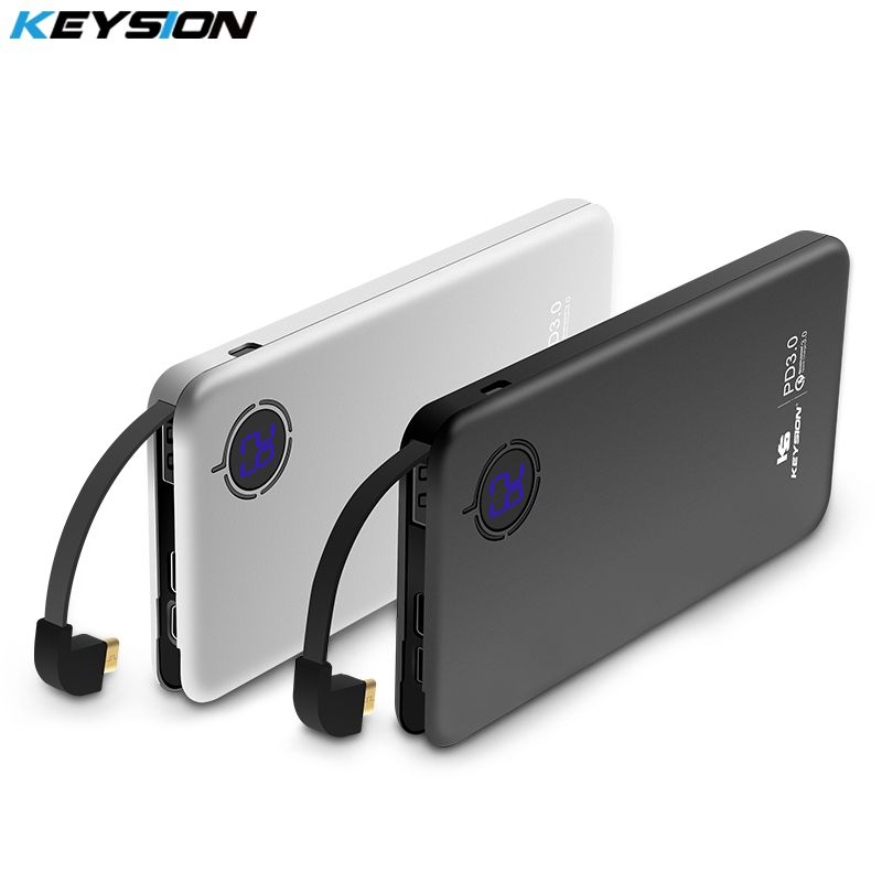 KEYSION 8000mAh 29.6Wh Type-C PD Fast Charge Power Bank 18W 3-port QC3.0 Quick Charging Mobile Phone External Battery Powerbank