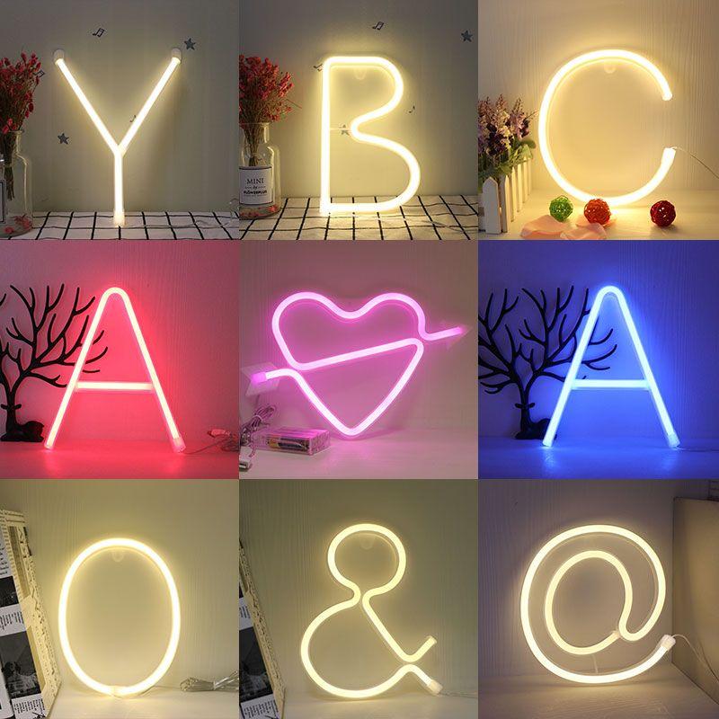 Veilleuse néon Alphabet lampe 26 lettres numéro changement de couleur pour anniversaire fête de mariage chambre tenture murale décor lumière nuit