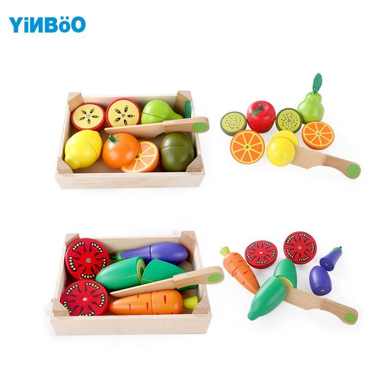 Деревянная Кухня игрушки резки фрукты овощи играть девушки 'toys ребенка раннего образования пищевой игрушки приготовления игрушка детская ...