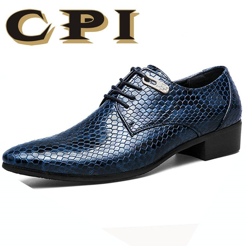 CPI New Imitate Snake Leather Men Oxford Shoes Lace Up Casual Business Men Pointed Shoes Men Wedding Men Dress Boat Shoes ZY-11