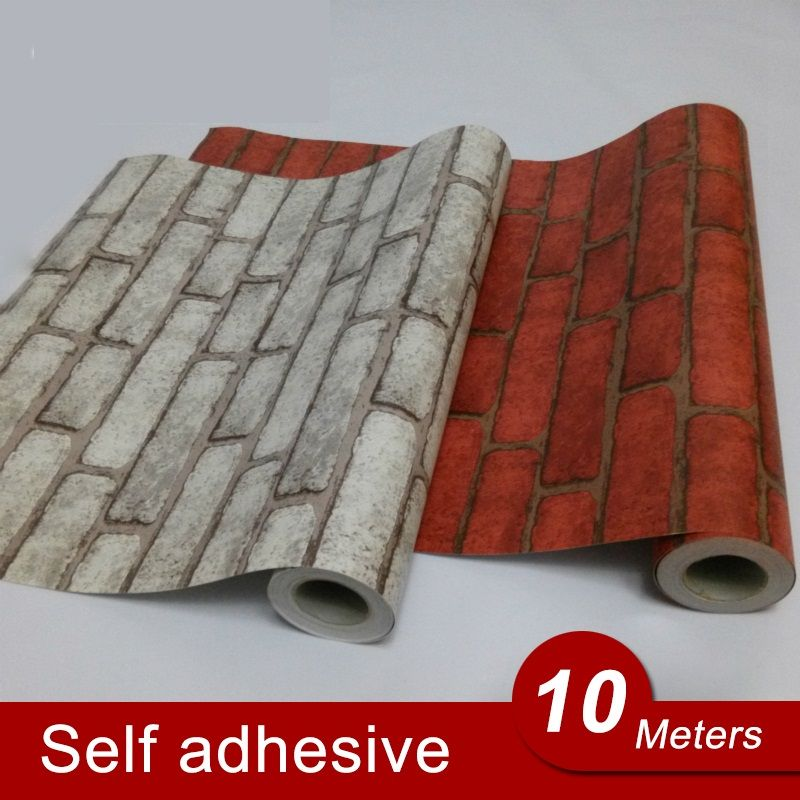 10M Back with Glue Vinyl Self Adhesive Wallpaper PVC Wall Stickers Brick Waterproof Brick Wall Paper For Room Kitchen Bathroom
