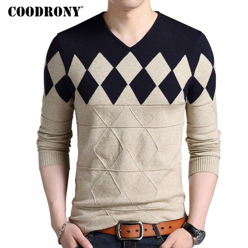 COODRONY <font><b>Cashmere</b></font> Wool Sweater Men 2018 Autumn Winter Slim Fit Pullovers Men Argyle Pattern V-Neck Pull Homme Christmas Sweaters