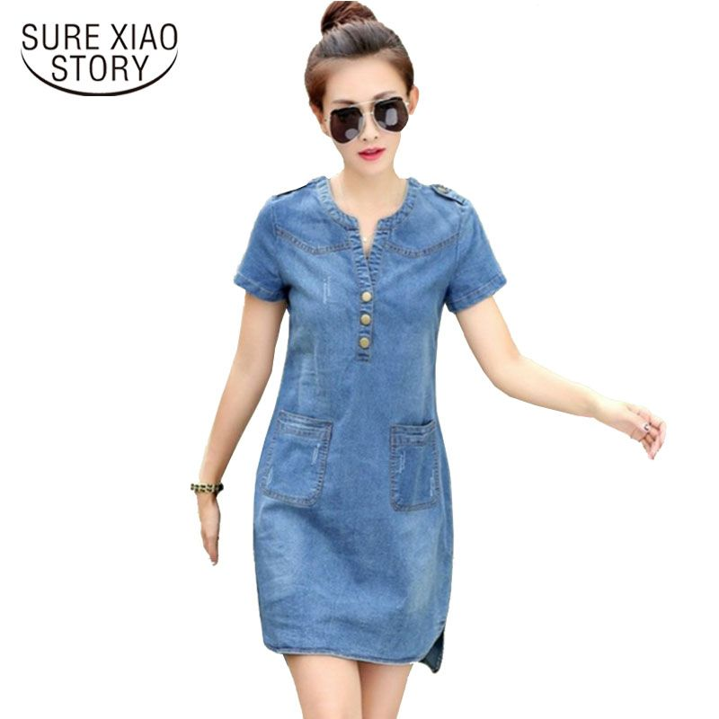 2016 new arrival summer women denim <font><b>dresses</b></font> short sleeves loose A word <font><b>dresses</b></font> plus sizes v-neck solid denim <font><b>dresses</b></font> 176A 25