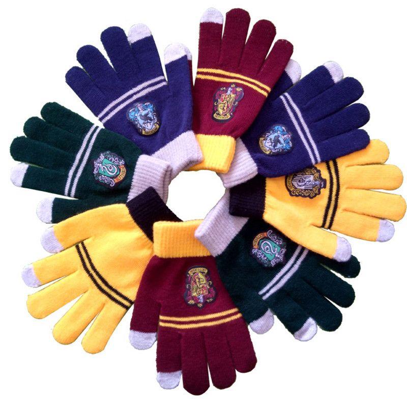 Harri Potter Cosplay College Gloves Gryffindor Glove Winter Warm Gloves Cartoon Halloween Guanti Gift Touch Screen Magic Toys