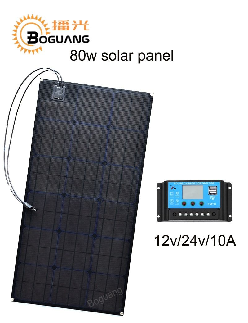 Boguang 80w solar panel ETFE Monocrystalline cell PCB module MC4 connector 10A controller 12v battery LED light RV yacht power