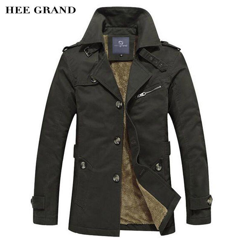 HEE GRand Männer Thick Blends Mode-stil Stehkragen Einreiher Winddichte Warme Wintermantel Plus Größe M-5XL MWF310
