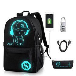 Аниме светящийся школьный рюкзак для мальчика студенческий рюкзак на плечо до 15,6 дюймов с usb зарядным портом и замком Школьная Сумка Черный