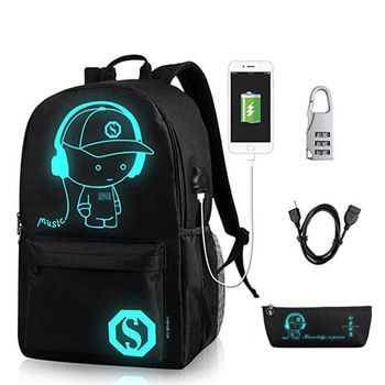Anime Luminous School Backpack For Boy Student Daypack Shoulder Under 15.6-inch with USB Charging Port and Lock School Bag Black