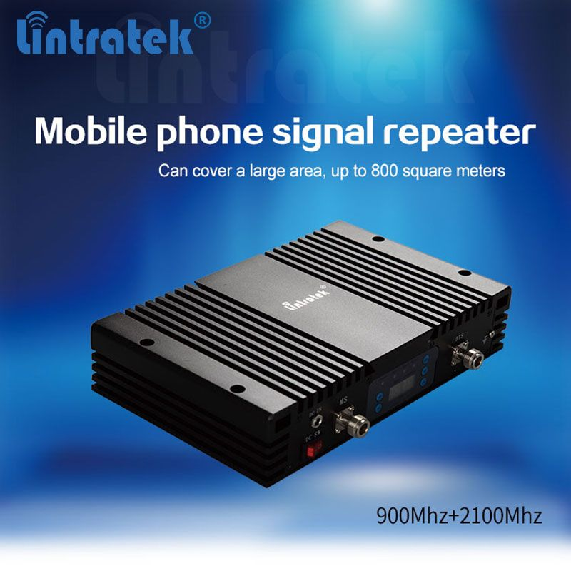 Repeater GSM 900Mhz +3G WCDMA 2100Mhz High gain 70dB EDGE/HSPA Mobile phone Dual Band Signal Booster with LCD display AGC/MGC