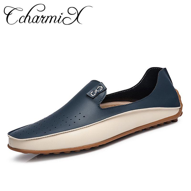 Marke Sommer Kausalen Schuhe Männer Müßiggänger Echtem Leder Mokassins Männer Fahren Schuhe Hohe Qualität Wohnungen Für Mann Plus größe