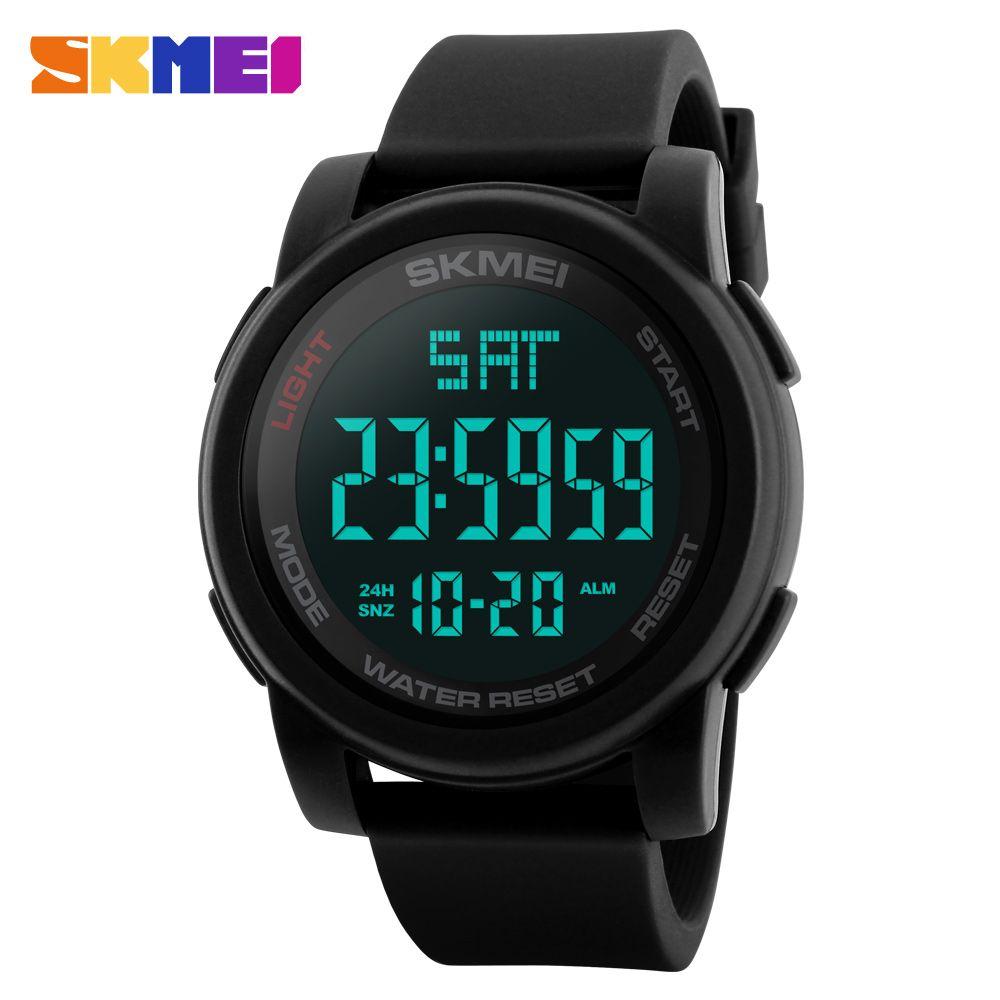 SKMEI hommes montre montres de sport Double temps compte à rebours 50 M étanche montres bracelets digitales LED horloges Relogio Masculino noir 1257