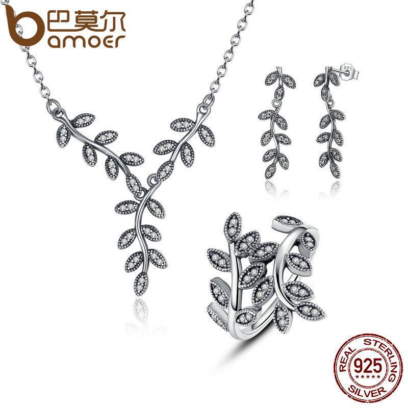 BAMOER 925 Sterling Silver Sparkling Leaves Leaf Long Pendant Necklace Silver Bridal Jewelry Sets Sterling Silver Jewelry ZHS010