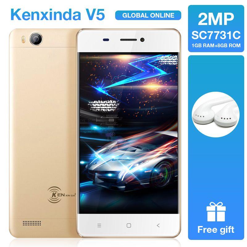 Original Kenxinda V5 Ultra Slim Android7.0 Mobile Cell Phone 4.0 Inch 1G RAM 8GROM Quad Core Dual SIM Cards Smartphones+Earphone
