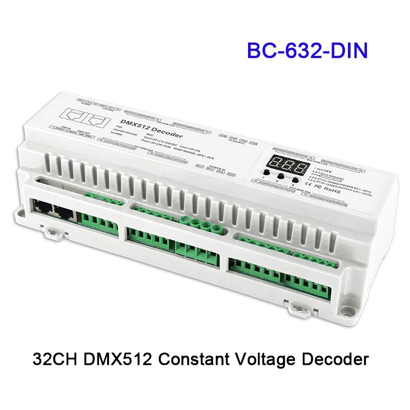 24 32 40 channel DMX512/8bit/16bit Input DC12V-24V RJ45 Connect LED RGB/RGBW Decoder controller for led Strip lamp light