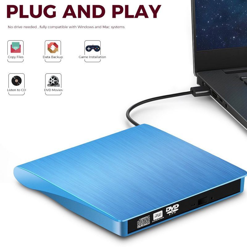 YiYaYo USB 3.0 Externe Stick DVD-ROM CD-RW DVD-RW Brenner Player Tragbare Reader Schlank für Windows7/8/10 Laptop