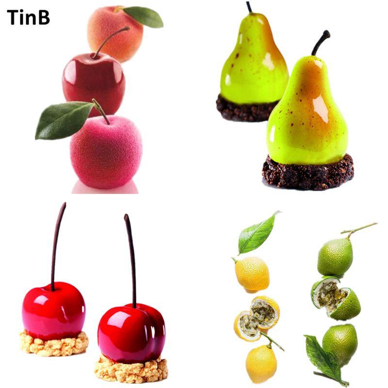 Apple, poire, cerise, citron Forme Silicone Moule Gâteau Moule DIY 3D Fruits Souris Moule Gâteau Cookie Muffin Savon Moule Outils De Cuisson