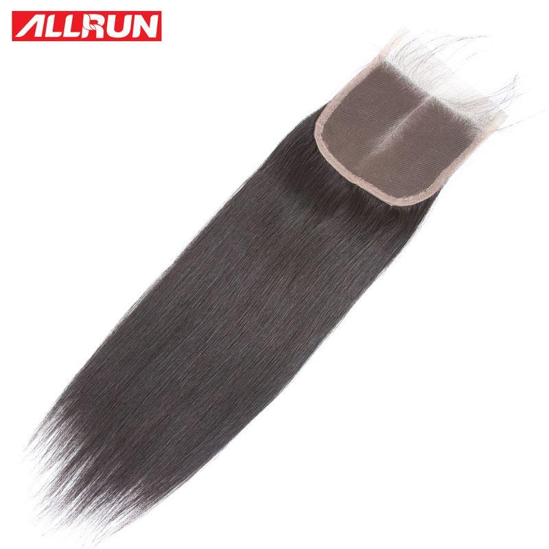ALLRUN Hair Brazilian Straight Hair Lace Closure 4*4 Free Part 100% Non Remy <font><b>Human</b></font> Hair Closure 8-20