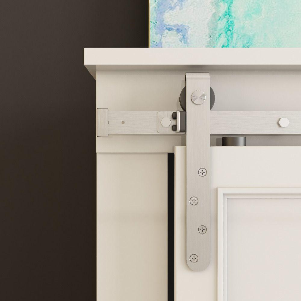 DIYHD 48 /60/70 Gebürstet Edelstahl Mini Gurt Doppel Schiebeschrank Barn Door Hardware zu Hängen 2 Tür (Keine schrank)