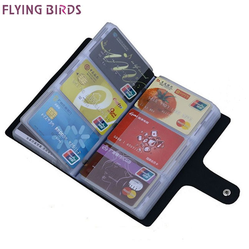 FLYING BIRDS!double Hasp women&men card bags name ID Business Card Holder High Quality Leather 96 Bank credit Card Case LS4061fb