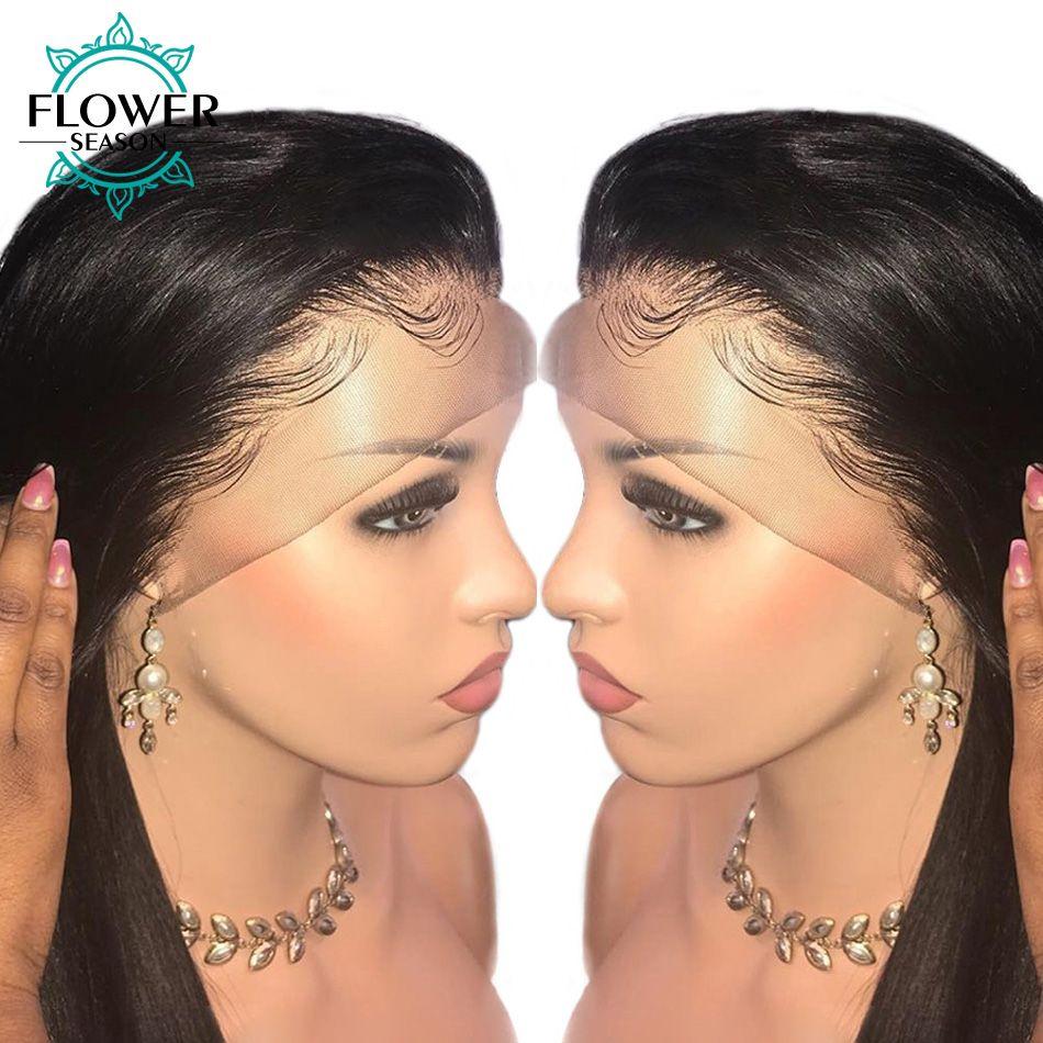 FlowerSeason 5x4,5 Volle Spitze Seide Basis Menschliches Haar Perücken Mit Baby Haar Indisches Remy Haar Seidige Gerade Vor gezupft Für Frauen
