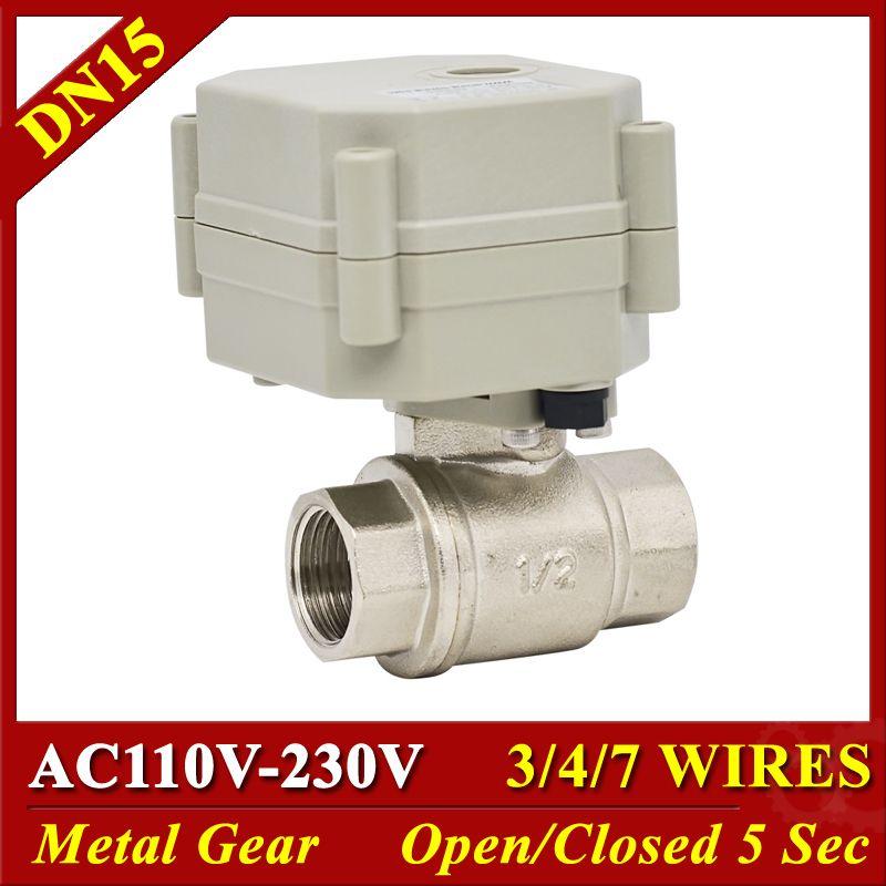 Metall Getriebe 2 Weg Elektrische Wasser Ventile SS304 DN15 1/2 TF15-S2-C AC110-230V Motorisierte Ventile Lange Mit Leben