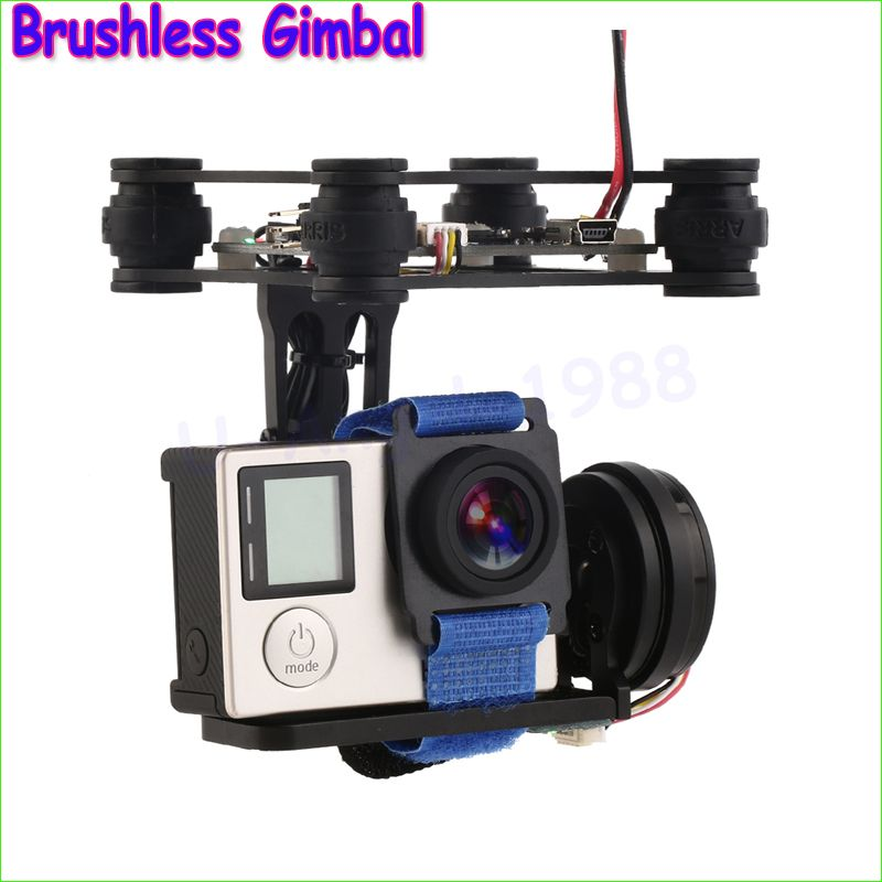 Wholesale 1set FPV 2 Axle Brushless Gimbal With Controller For  Phantom GoPro 3 4 Dropship