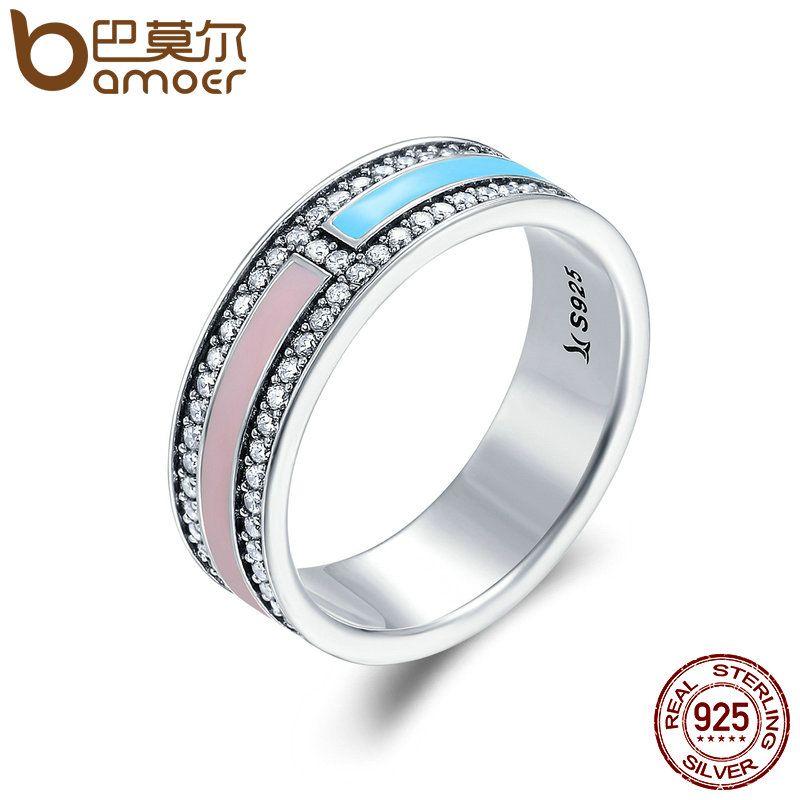 BAMOER Hot Sale Genuine 925 Sterling Silver Light Color Enamel Clear CZ Finger Rings for Women Wedding Engagement Jewelry SCR158
