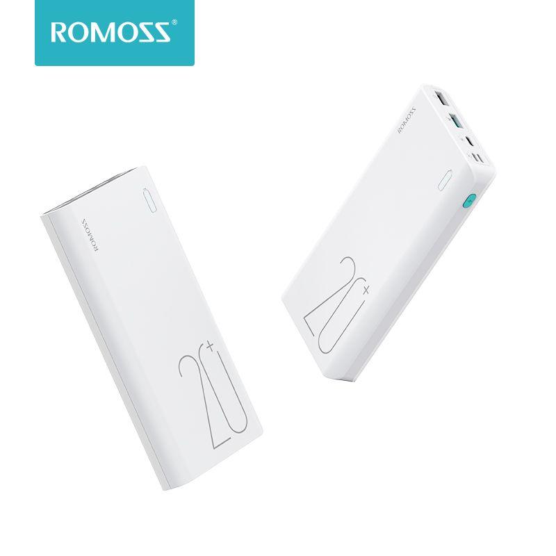 Batterie externe Portable originale ROMOSS Sense 6 + batterie externe 20000 mAh avec chargement rapide bidirectionnel QC3.0 pour tablette de téléphones