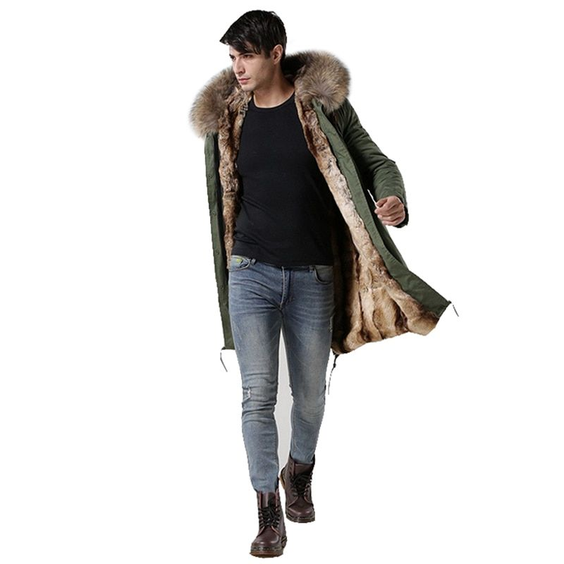 2018 Italy male real raccoon fur collar jacket MrMrs fur lined long parka with faux rabbit fur winter men coats Hot Sales