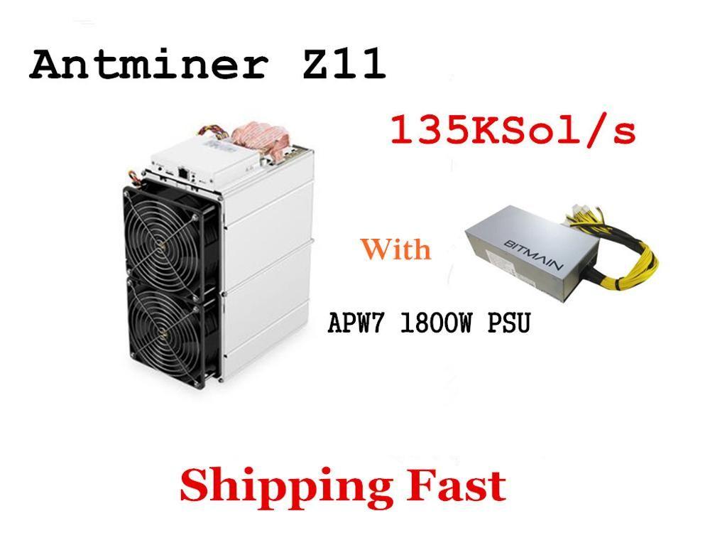 In Lager Antminer Z11 135 k Sol/s 1418 W Mit BITMAIN 1800 W NETZTEIL Equihash Miner Besser Als antminer Z9 S9 S11 S15 Innosilicon A9