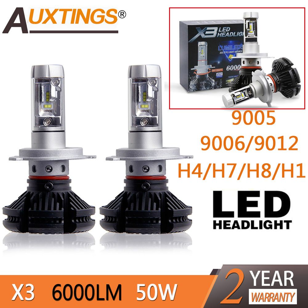 2pcs X3 led headlight 50W 6000LM H4 H7 LED Car Headlight 3000K/<font><b>6500K</b></font>/8000K ZES Chip H1 H11 9005 HB3 9006 HB4 LED fog Lamp Auto