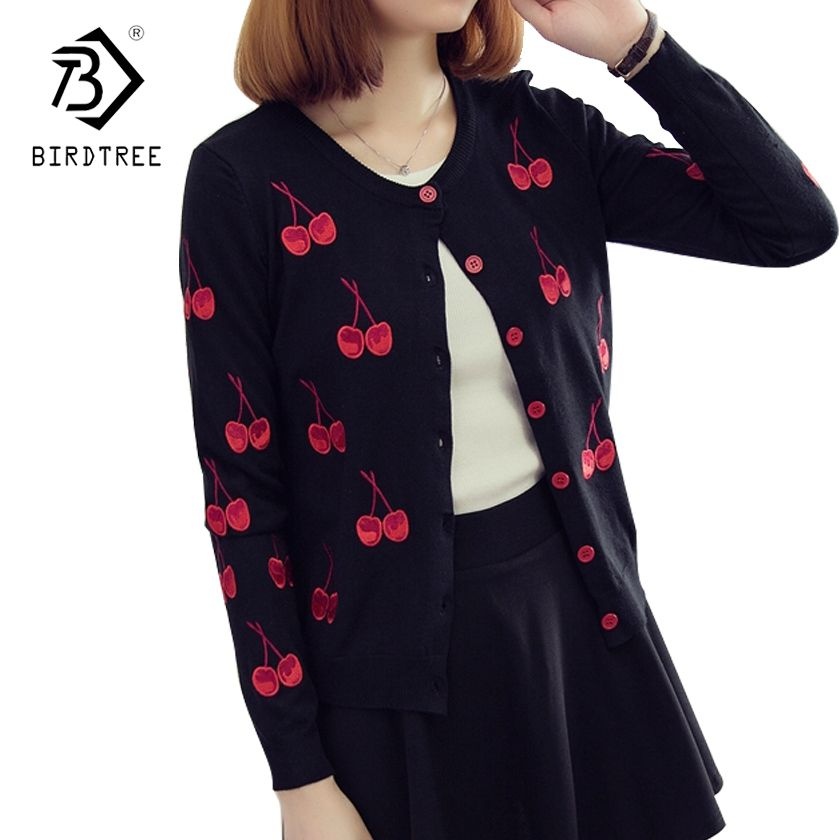 2017 Fashion women's spring and autumn cherry embroidery round collar With sweater cardigan female show thin short coat C76801M