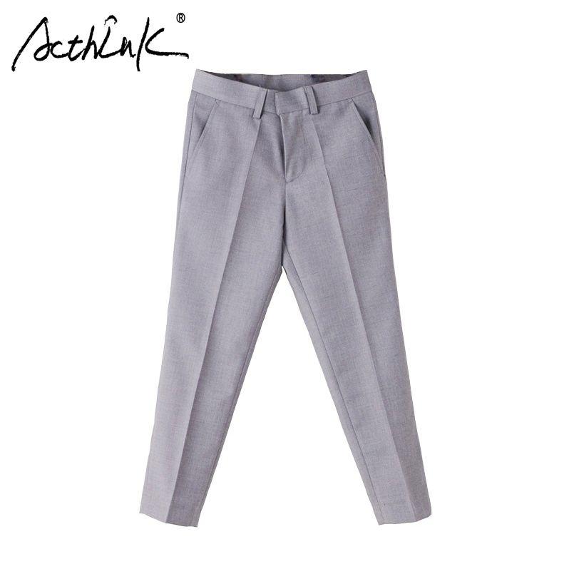 ActhInK nouveau grand garçons Performance formelle costume Pantalon Pantalon Garcon marque doux Style enfants gris mariage Pantalon garçons Pantalon, C258